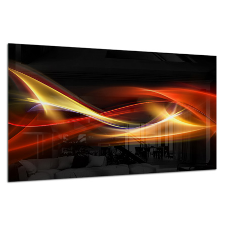 Glass Splashback Kitchen Tile Cooker Panel ANY SIZE Abstract Graphic Waves 0476