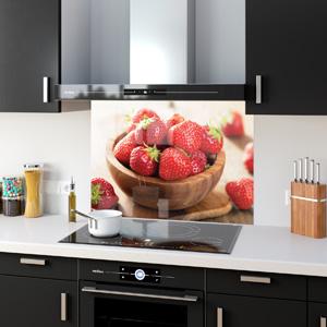 ANY SIZE Kitchen Splashbacks Tempered Glass Heat-R Fruits Strawberries 41030060